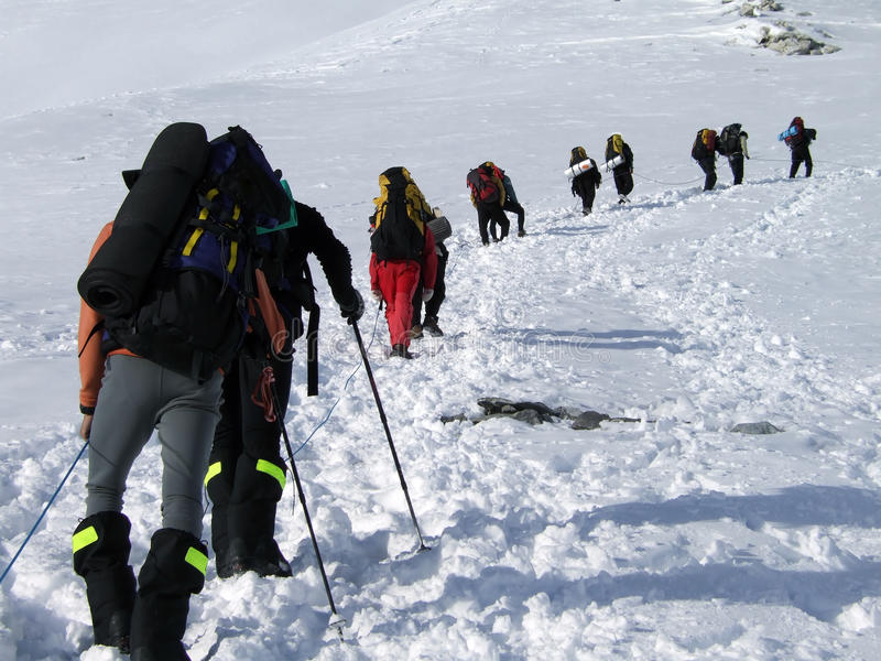 Upwards. Mountaineers with backpacks climbing a snowy route stock image