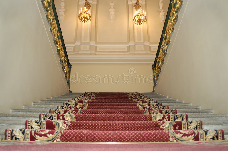 Download Upwards on a red carpet. stock image. Image of steps, building - 6846195