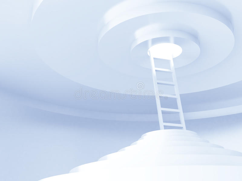 Upwards to light. Ladders upwards to light in a rounded room royalty free stock image