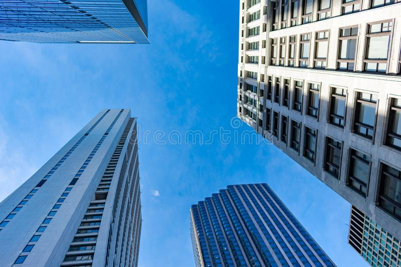 Upwards View of Multiple Skyscrapers in Downtown Chicago stock images
