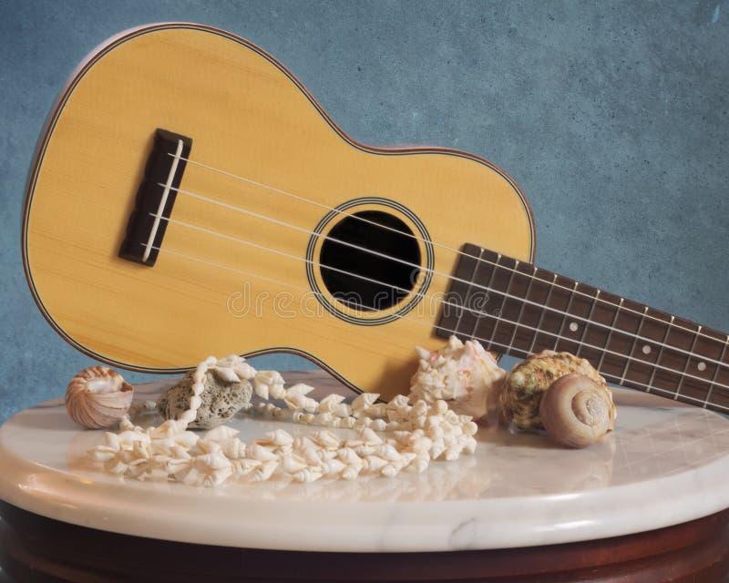 Uquelele do jacarandá com mar Shell Decor fotografia de stock