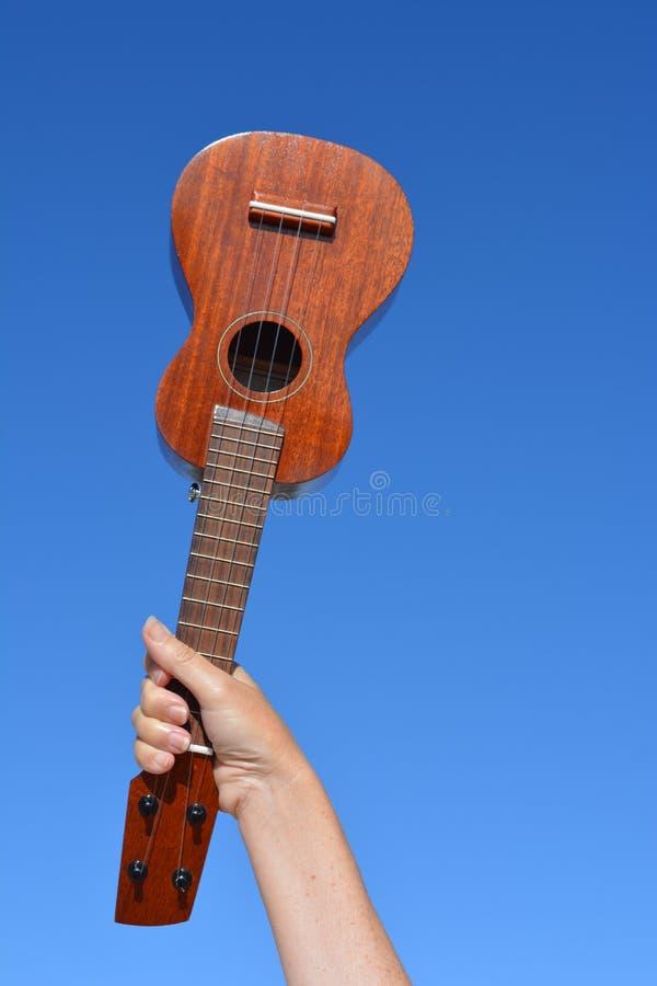 Uquelele do soprano, tiro do baixo ângulo contra um céu azul claro imagens de stock royalty free