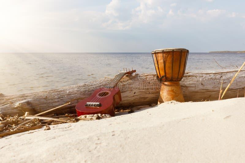 Uquelele e cilindro étnico em uma praia ensolarada imagens de stock royalty free