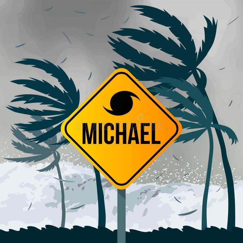 Uragano Michael di tornado, proveniente dall'oceano Onde enormi sulle case sulla costa illustrazione di stock