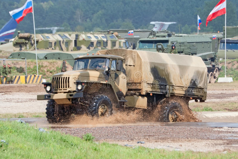 Download URAL-43206 Truck Passes A Water Obstacle Editorial Image - Image: 26376840