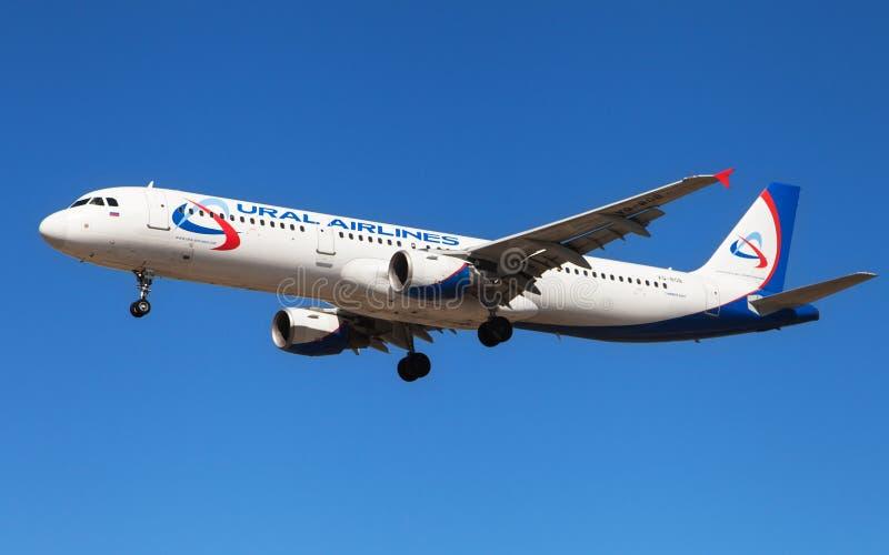 Ural Airlines flygbuss A321 fotografering för bildbyråer