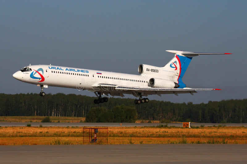Ural Airlines Tupolev Tu-154M RA-85833 landing at Domodedovo international airport. DOMODEDOVO, MOSCOW REGION, RUSSIA - JULY 31 2010: Ural Airlines Tupolev Tu royalty free stock image