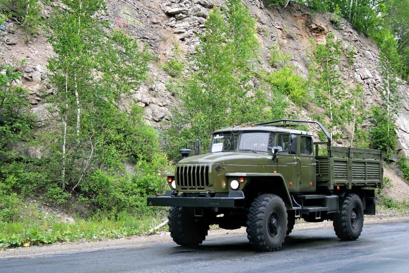 URAL 43206. CHELYABINSK REGION, RUSSIA - JUNE 29, 2008: Green URAL 43206 military truck at the interurban road royalty free stock photo