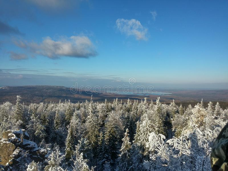 Ural góry, zima krajobraz zdjęcie stock