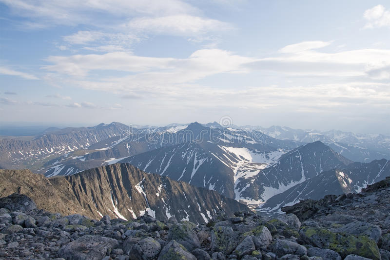 Ural mountains. Subpolar Ural mountains, view from mountain Narodnaya stock image