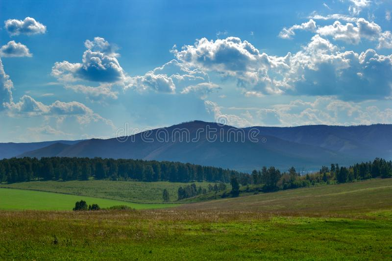 Ural mountains view. On a sunny day stock photos