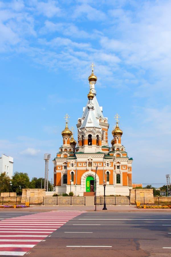 Uralsk的正教教会,卡扎克斯坦 免版税库存照片