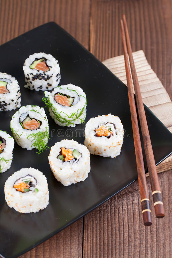 Download Uramaki sushi set stock photo. Image of ginger, savory - 71216994