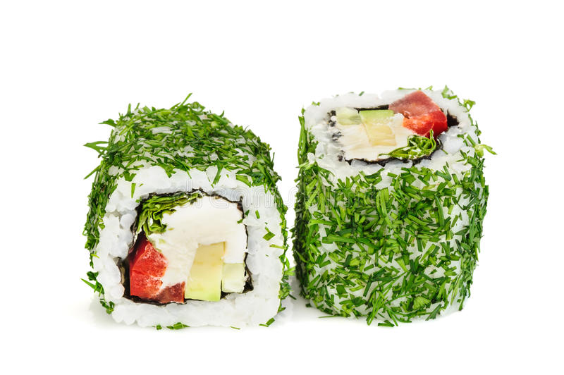 Uramaki vegetable maki sushi with dill, two rolls isolated on white stock photo