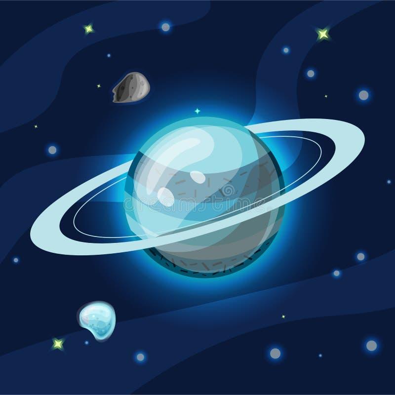 Uran vektortecknad filmillustration Blå Uran planet av solsystemet i mörkt djupblått utrymme som isoleras på blå bakgrund vektor illustrationer