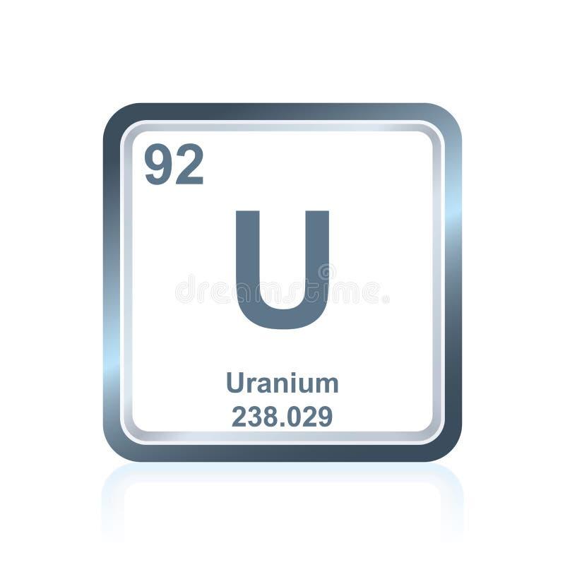 Uranio del elemento químico de la tabla periódica stock de ilustración