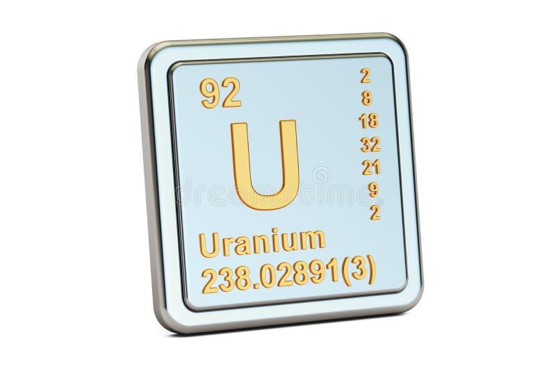 Uraniumu, chemisch elemententeken het 3d teruggeven stock illustratie
