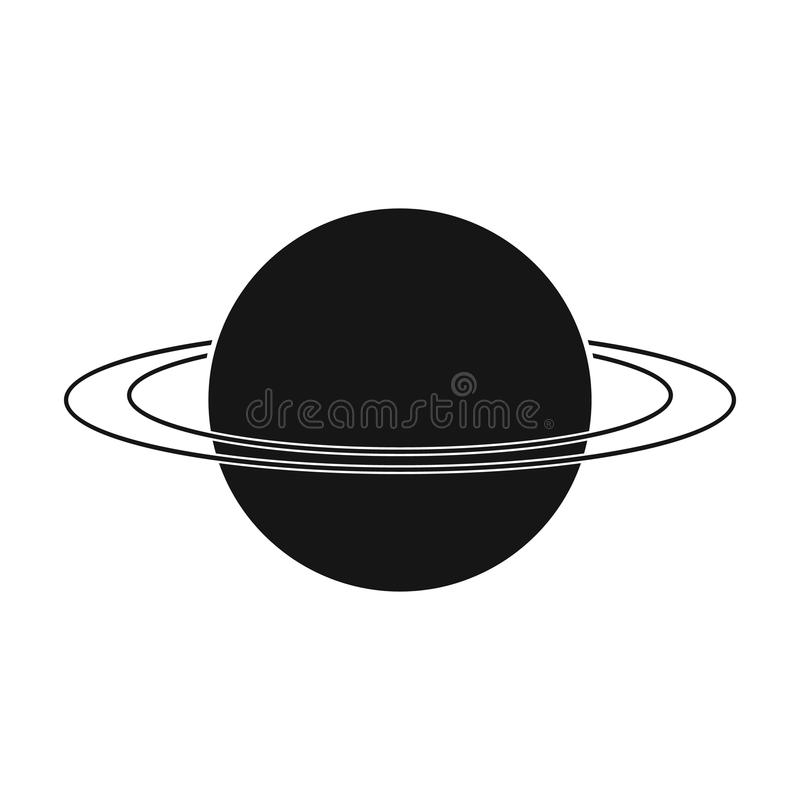 Uranus Icon In Black Style Isolated On White Background Planets