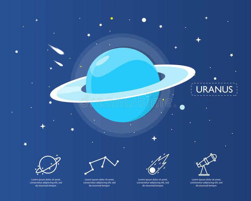 The uranus infographic in universe concept. royalty free illustration