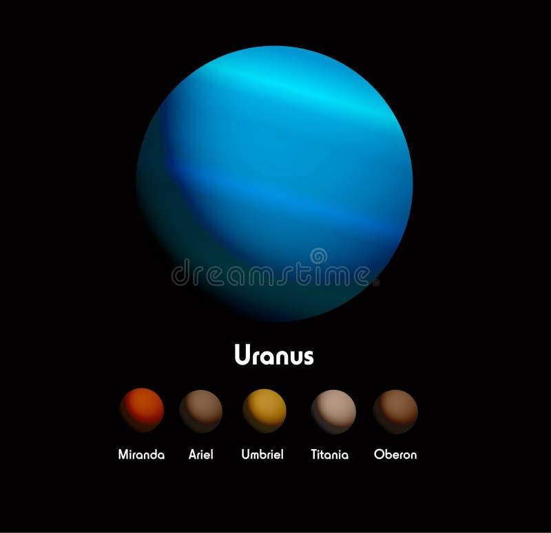 Uranus och henne månar vektor illustrationer