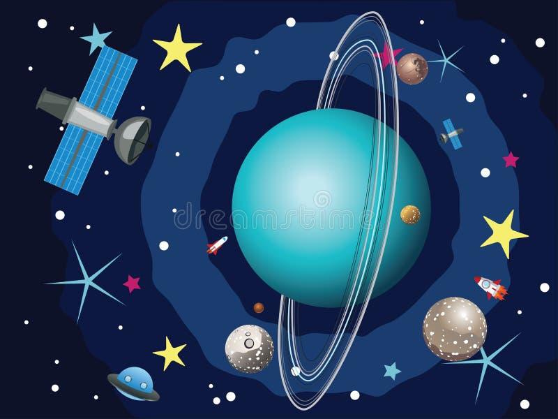 Uranus-Planet im Raum lizenzfreie abbildung