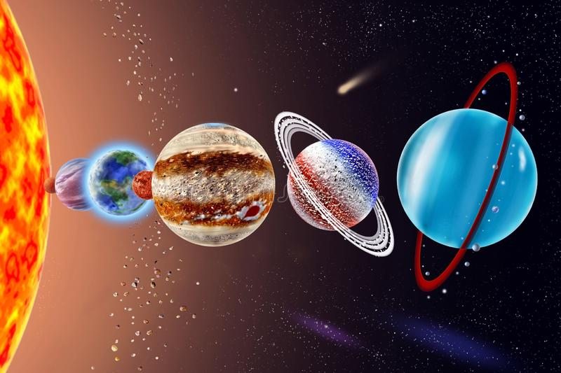 Uranus - a seventh planet of the solar system. On background Sun and starry sky stock image