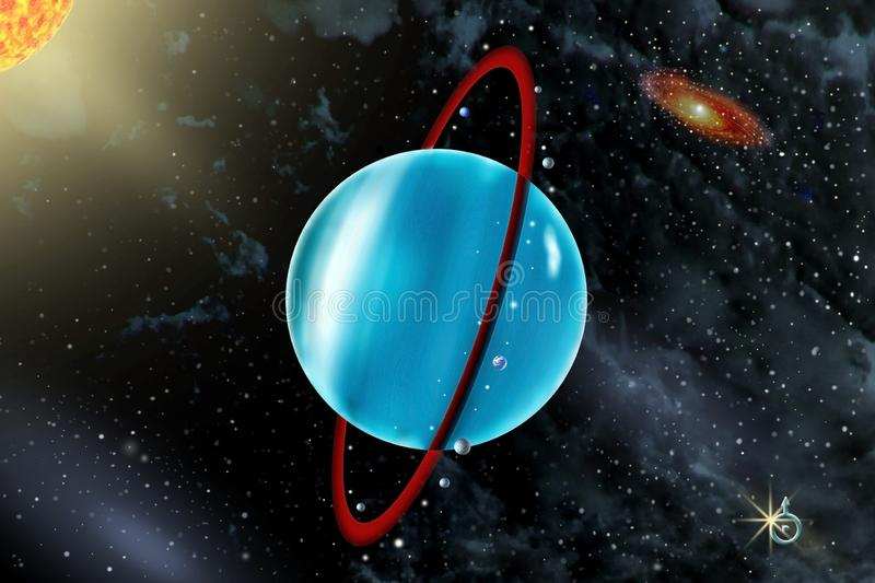 Uranus - a seventh planet of the solar system. On background Sun and starry sky royalty free stock photo