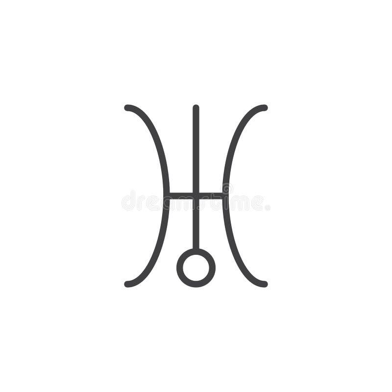 Uranus Symbol Line Icon Stock Vector Illustration Of Uranus 99928763
