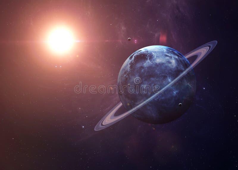 Uranus z księżyc od przestrzeni pokazuje wszystko je obrazy stock