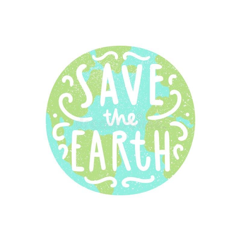 uratować ziemię Planeta i ręka rysujący literowanie ilustracja wektor