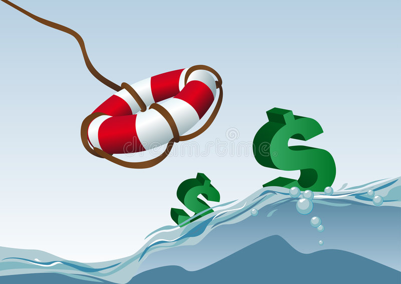 uratowanie dolarów. ilustracja wektor