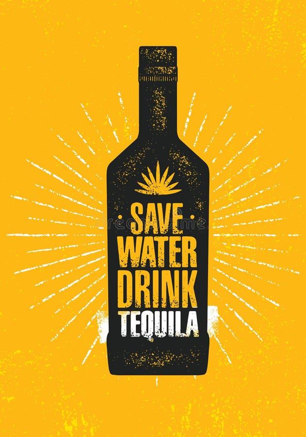 uratuj wody Napoju tequila Rzemiosło agawy alkoholu Lokalnego rzemieślnika wektoru znaka Kreatywnie pojęcie Szorstki Handmade szt ilustracja wektor