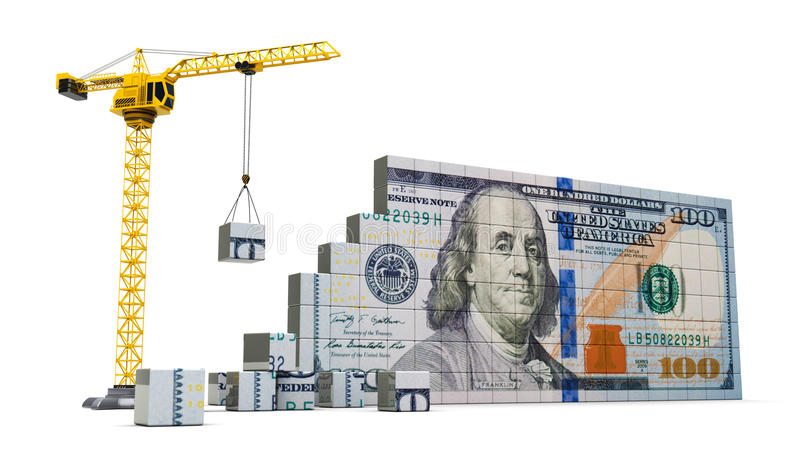 Żuraw i pieniądze ilustracja wektor