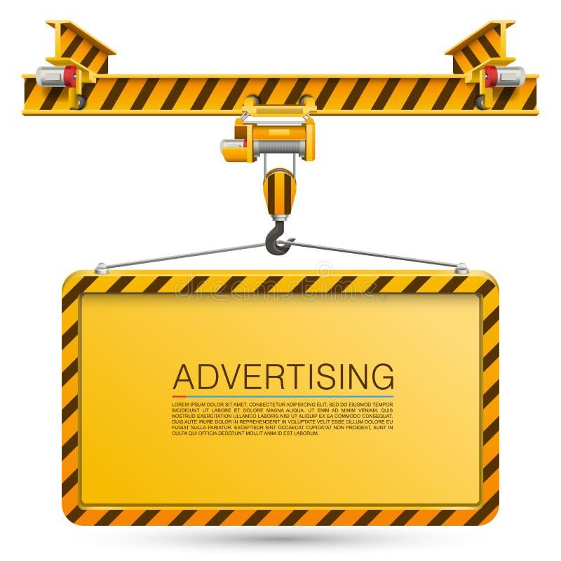 Żuraw podnosi billboard ilustracji