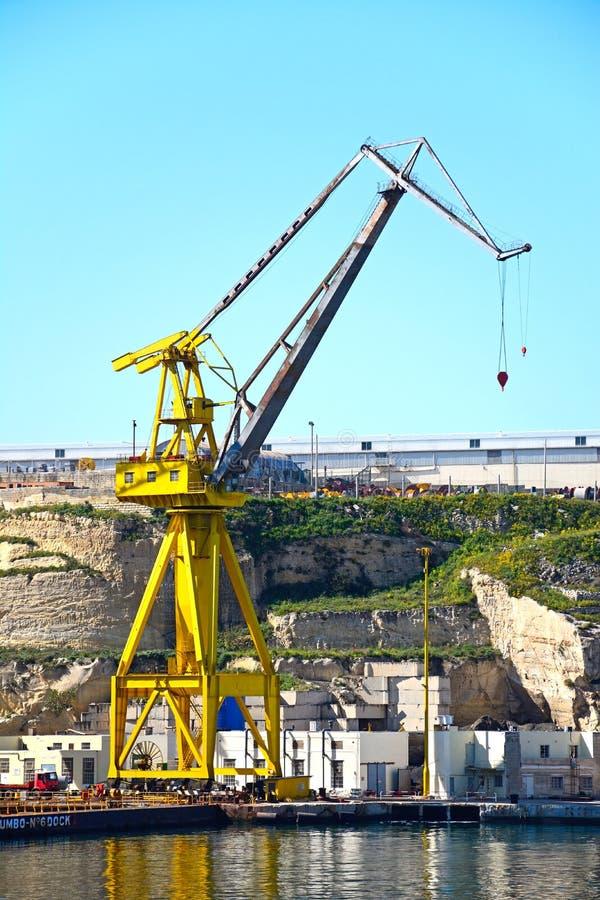 Żuraw w Paola dokach, Malta fotografia royalty free