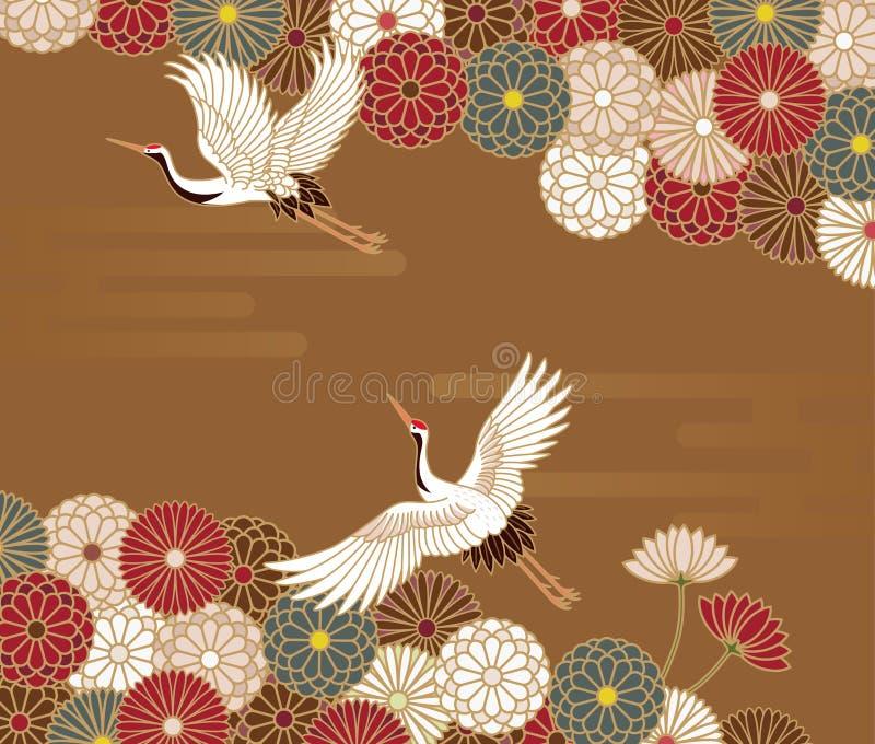 Żurawie i chryzantema Japoński tradycyjny wzór ilustracja wektor