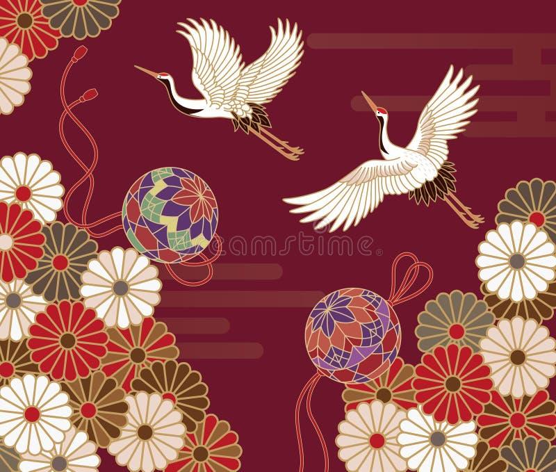 Żurawie i chryzantema Japoński tradycyjny wzór royalty ilustracja
