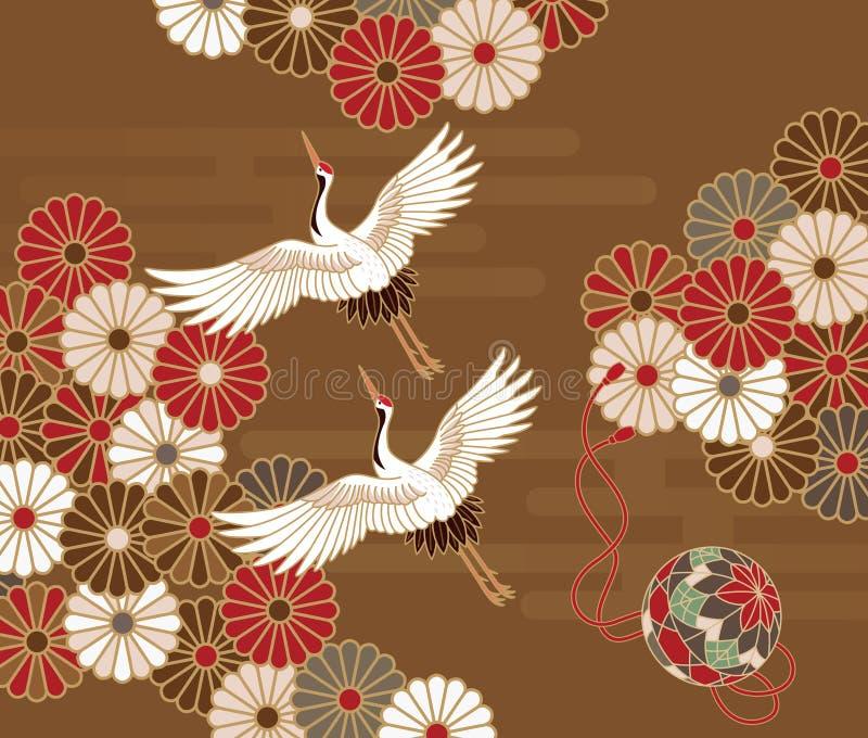 Żurawie i chryzantema Japoński tradycyjny wzór ilustracji