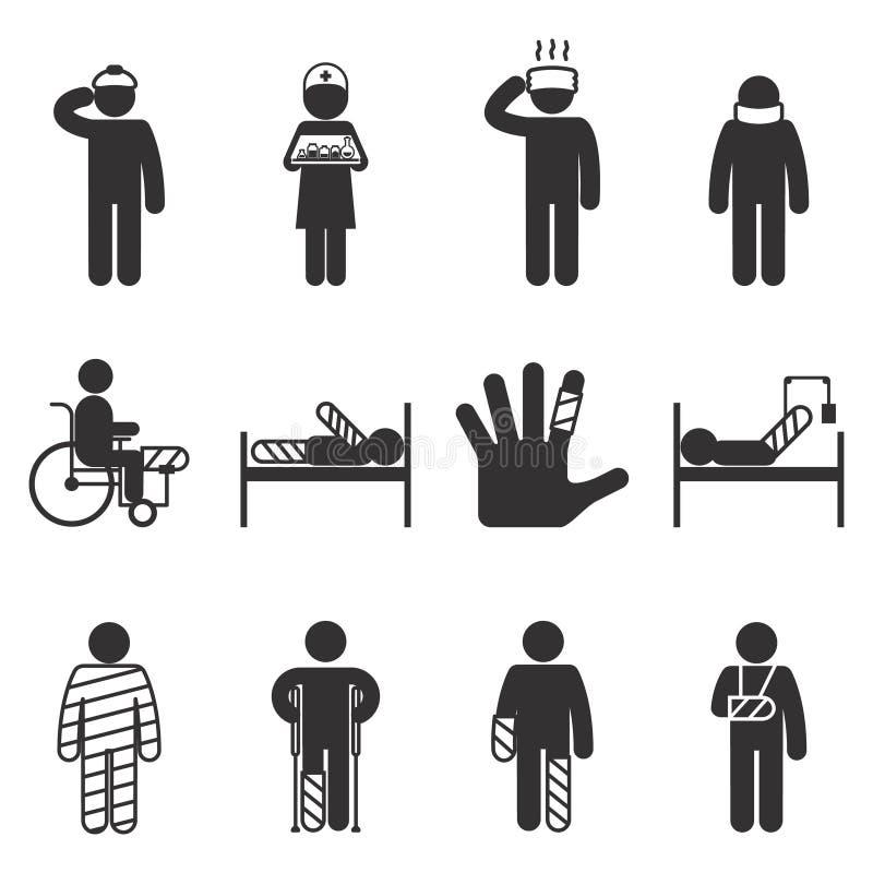 Uraz ikony Uraz i choroba ilustracji