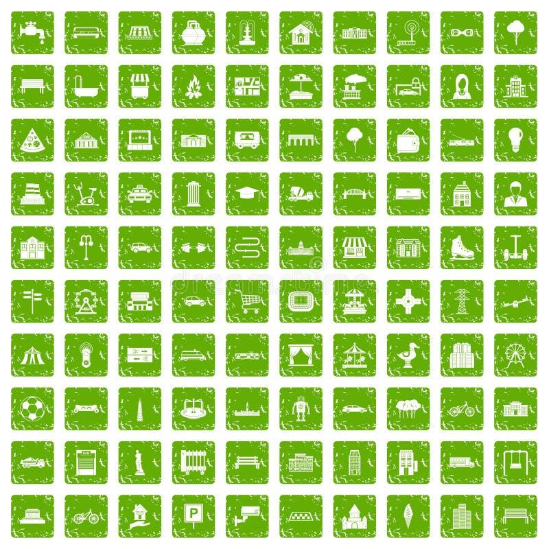 urbaines vert de grunge réglé 100 par icônes illustration libre de droits