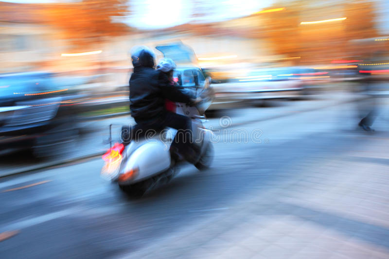 Urban abstract. Abstract photo of motorcycle moving on the street stock photo