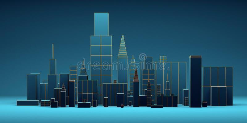 Urban abstract background, futuristic blue city panorama. 3d illustration. stock illustration