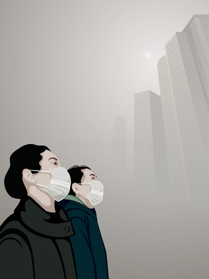 Urban air pollution stock illustration