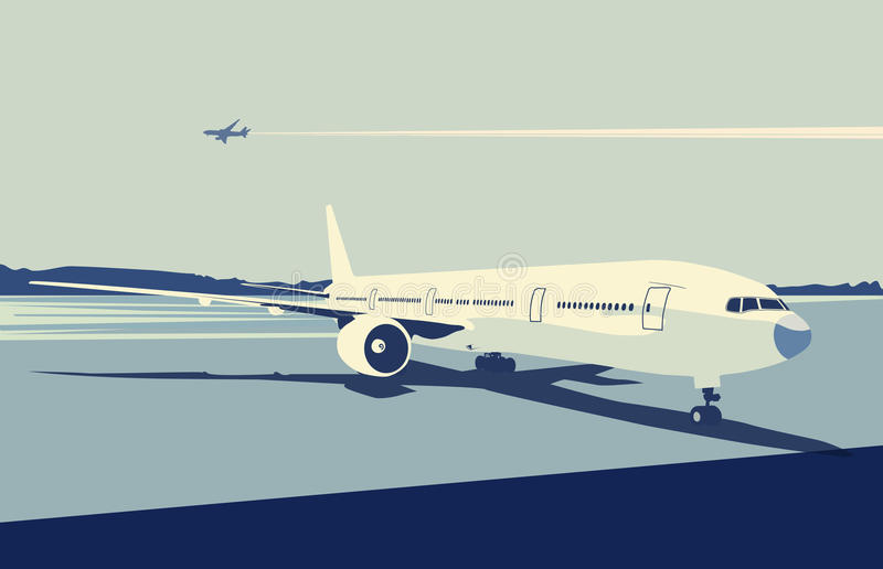 Urban airport. Vector illustration of a detailed airplane on the urban airport scene. Retro style