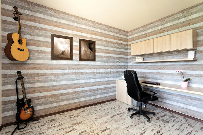 Urban apartment - artist's room. Urban apartment - striped office with two guitars royalty free stock image