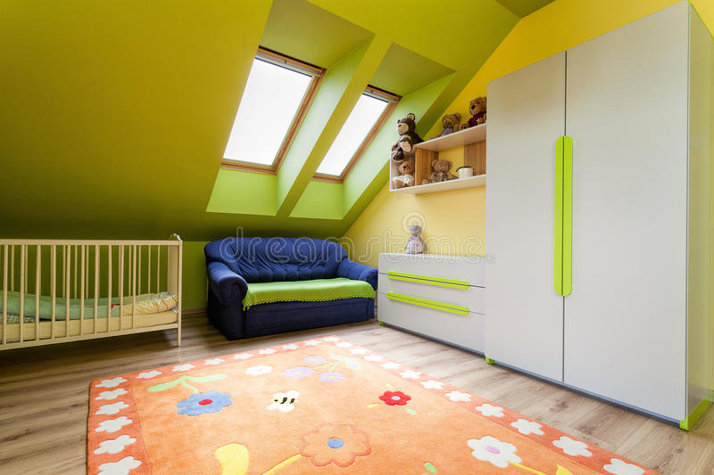 Urban apartment - child's room. Urban apartment - green and yellow childs room royalty free stock photos