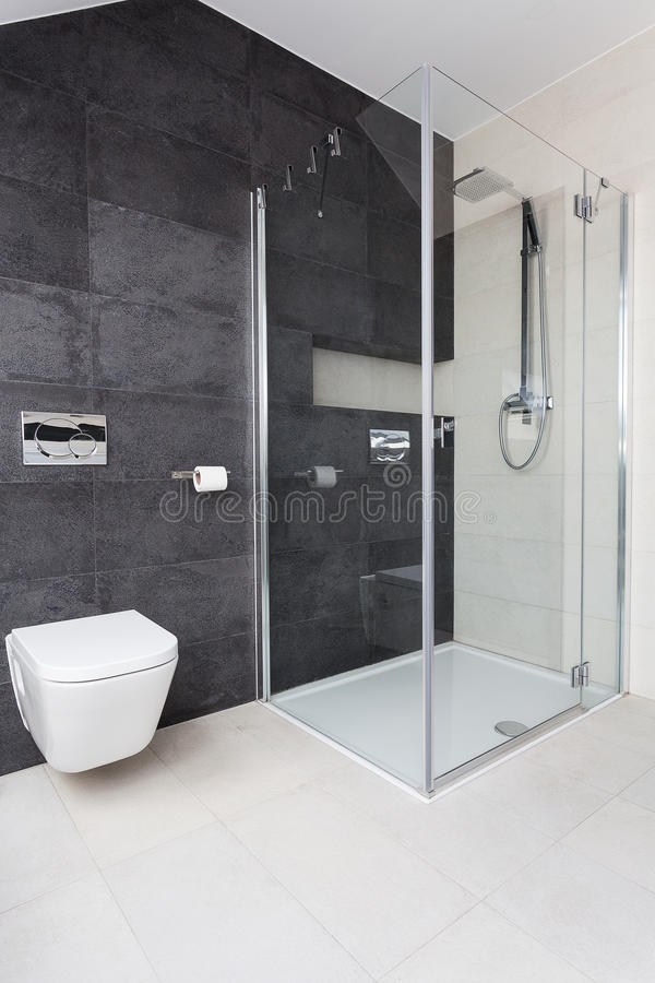 Urban apartment - glass shower. Urban apartment - modern glass shower in bathroom stock photo