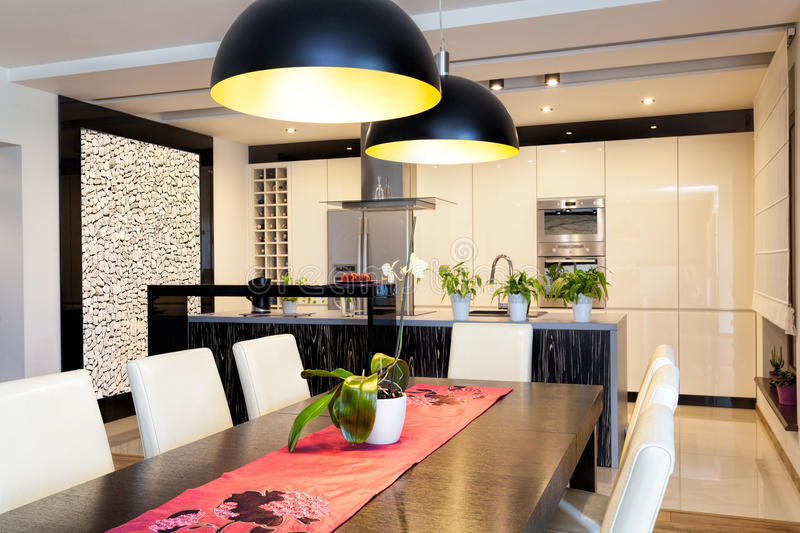 Urban apartment - Kitchen with stone wall stock images