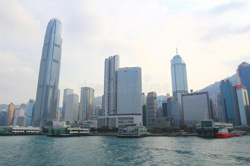 Urban architecture in Hong Kong Victoria Harbor. In the day stock photos
