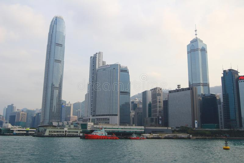 Urban architecture in Hong Kong Victoria Harbor. In the day stock photo